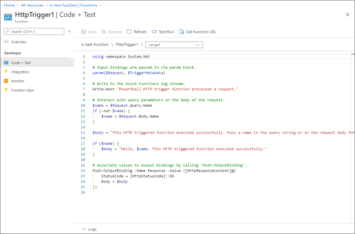 """Click on the function HttpTrigger1, then click on the """"Code + Test"""" section"""