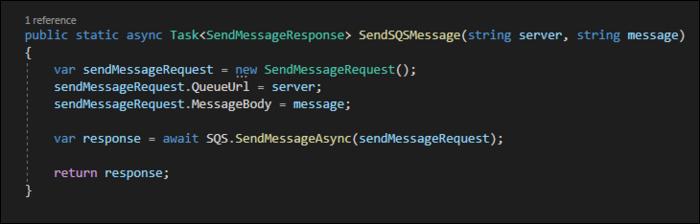 Construct new SendMessageRequests and send it off with SQSClient.SendMessageAsync.