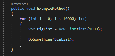 This code will run 10,000 times, and leave 10,000 ownerless lists allocated in memory at the end of the function.