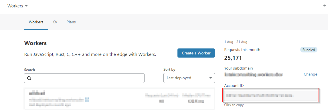 Retrieve Account ID by navigating to CloudFlare dashboard, click on Workers, locate Account ID.