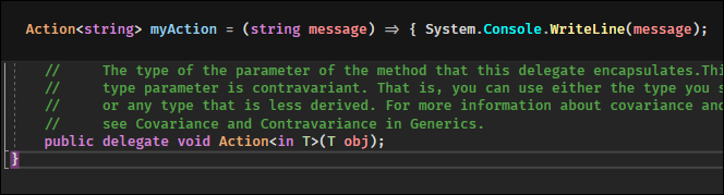 Actionwithout any types is an empty delegate definition with avoidreturn type.