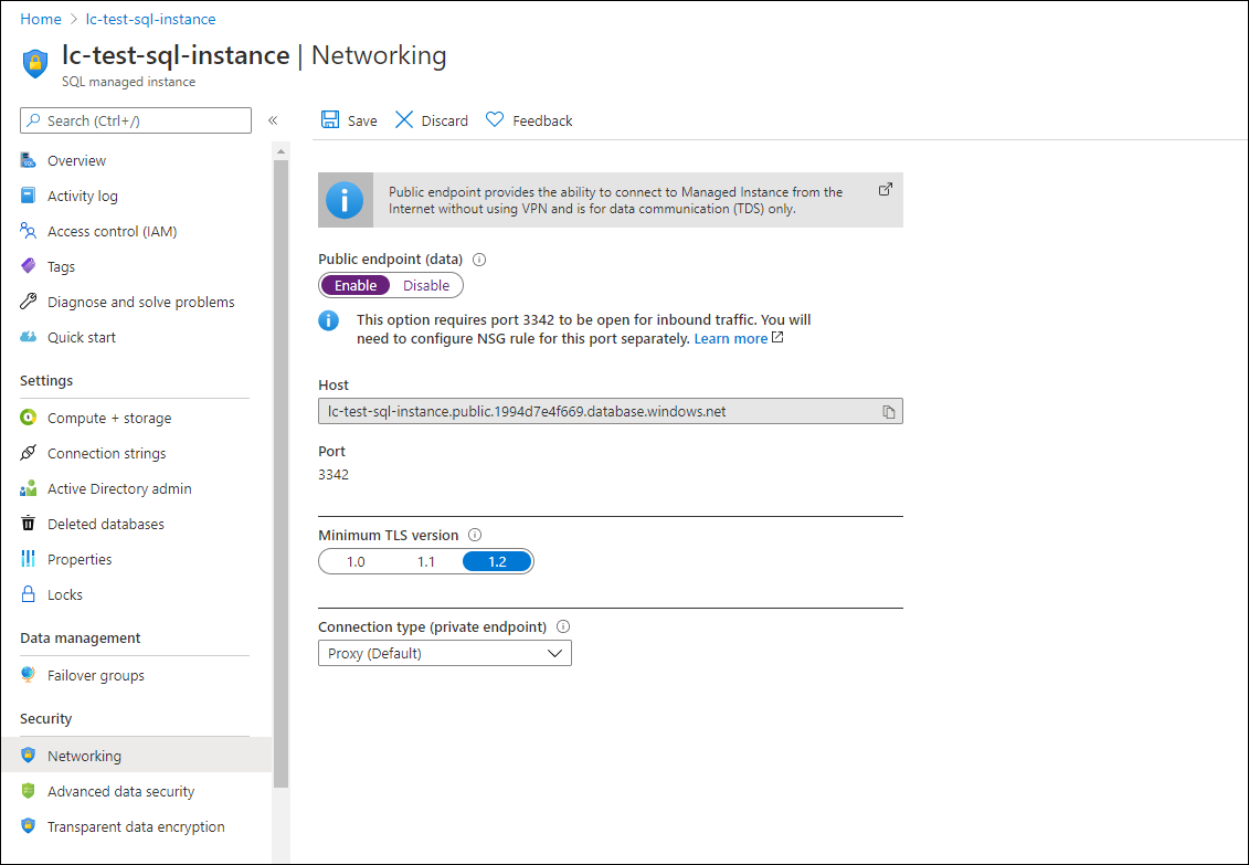 """Choose """"Enable"""" on the public endpoint (data) option and click on """"Save"""" under Networking."""