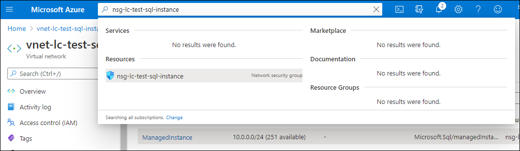 To navigate to this NSG, locate the Microsoft Azure Portal search functionality link, and click on the found resource to navigate to the page.