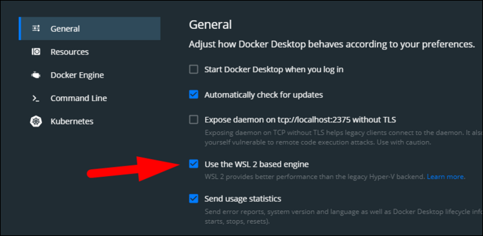 If using WSL on Windows, enable the WSL 2-based engine