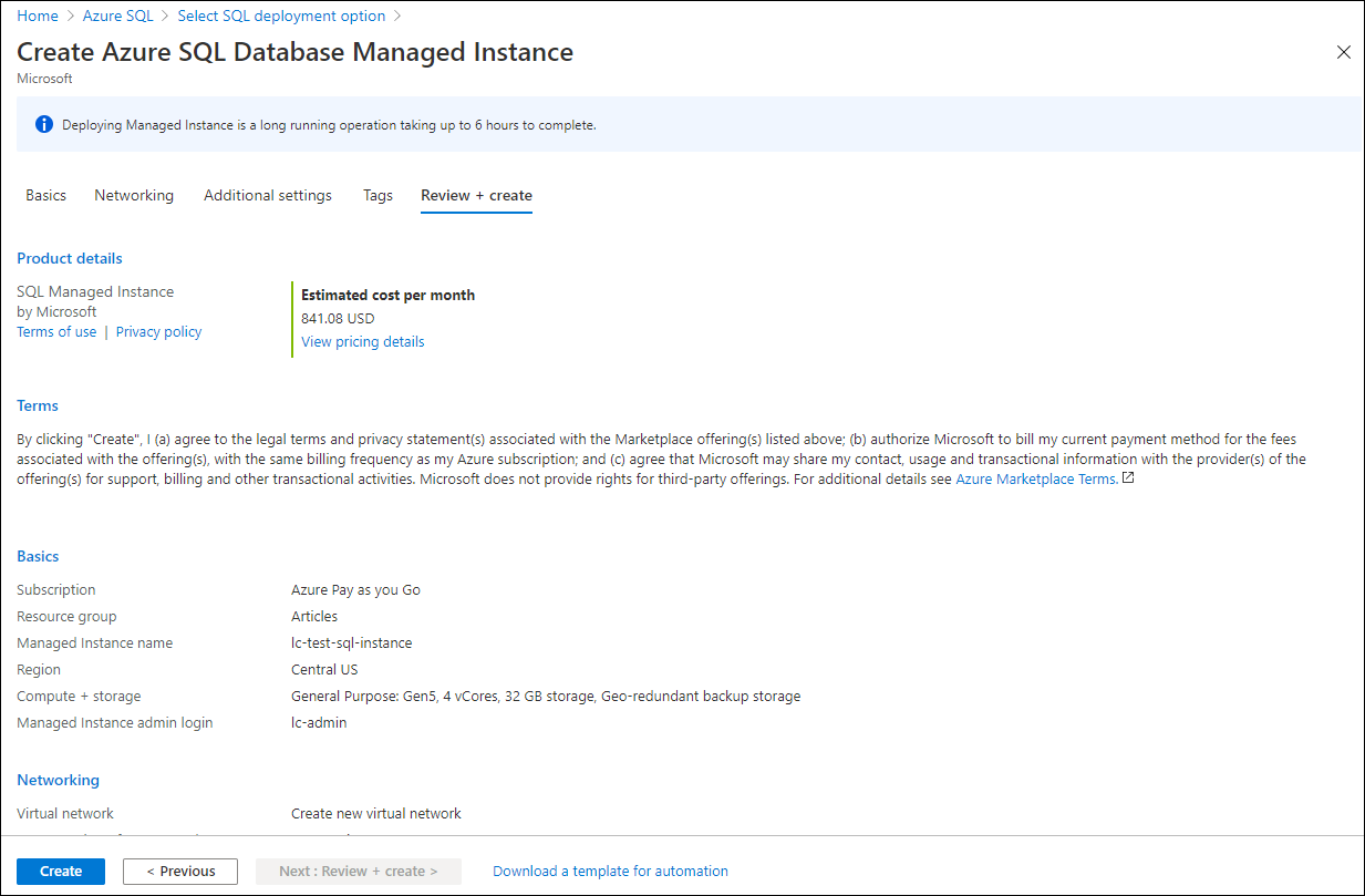 Create the SQL managed instance.