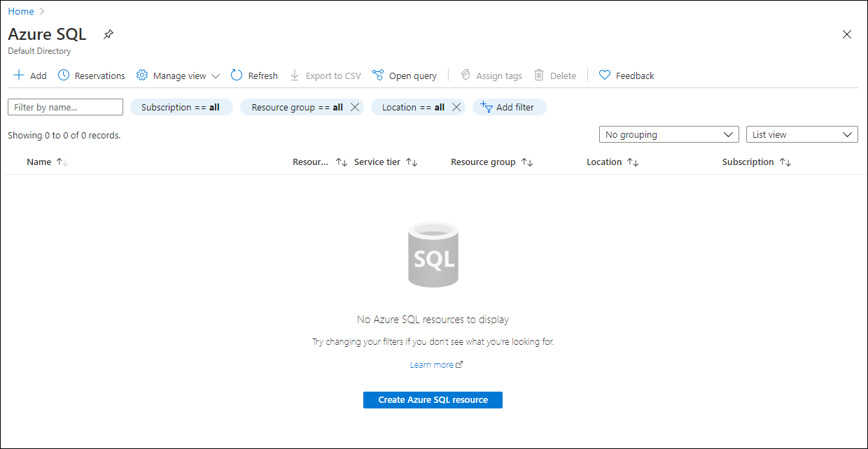 """Click on """"Create Azure SQL resource"""" to get started provising your instance."""