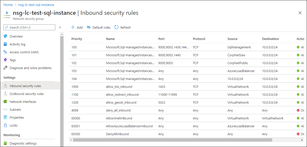 """Navigate to Inbound security rules, then click on """"Add."""""""