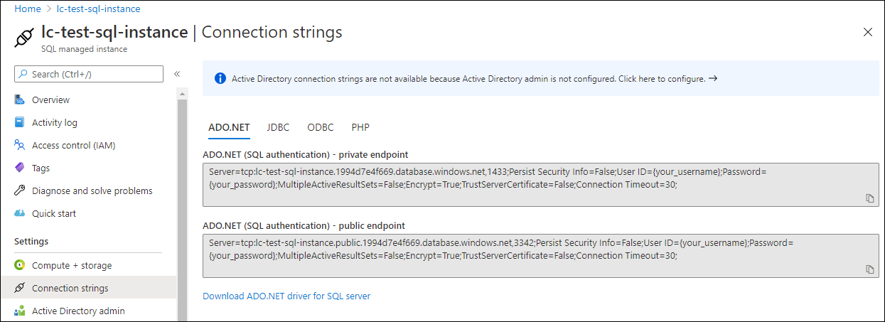 In the ADO.NET section, the second section has the public endpoint.