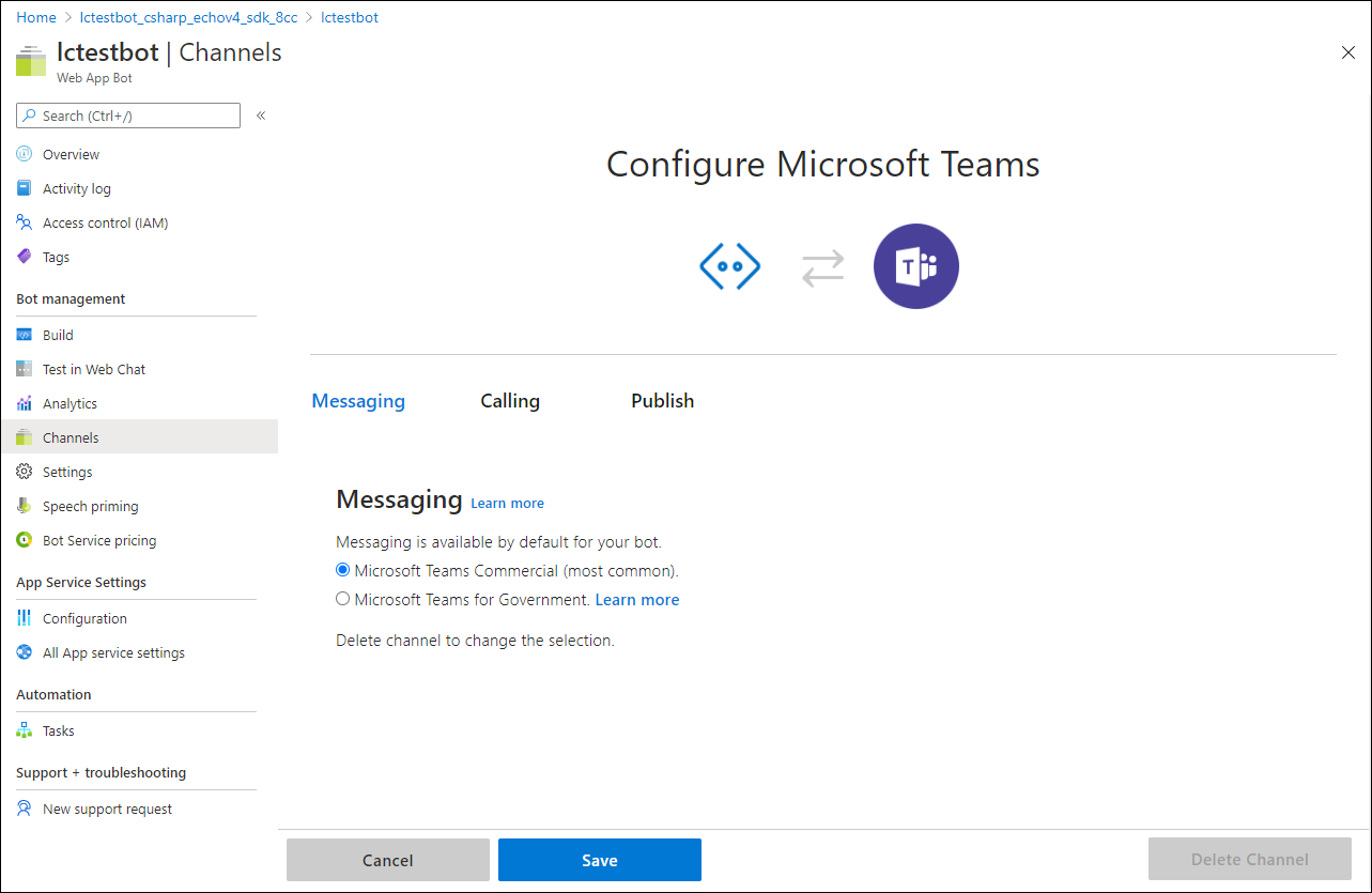 """Click """"Save"""" to make this available to the Microsoft Teams channel"""
