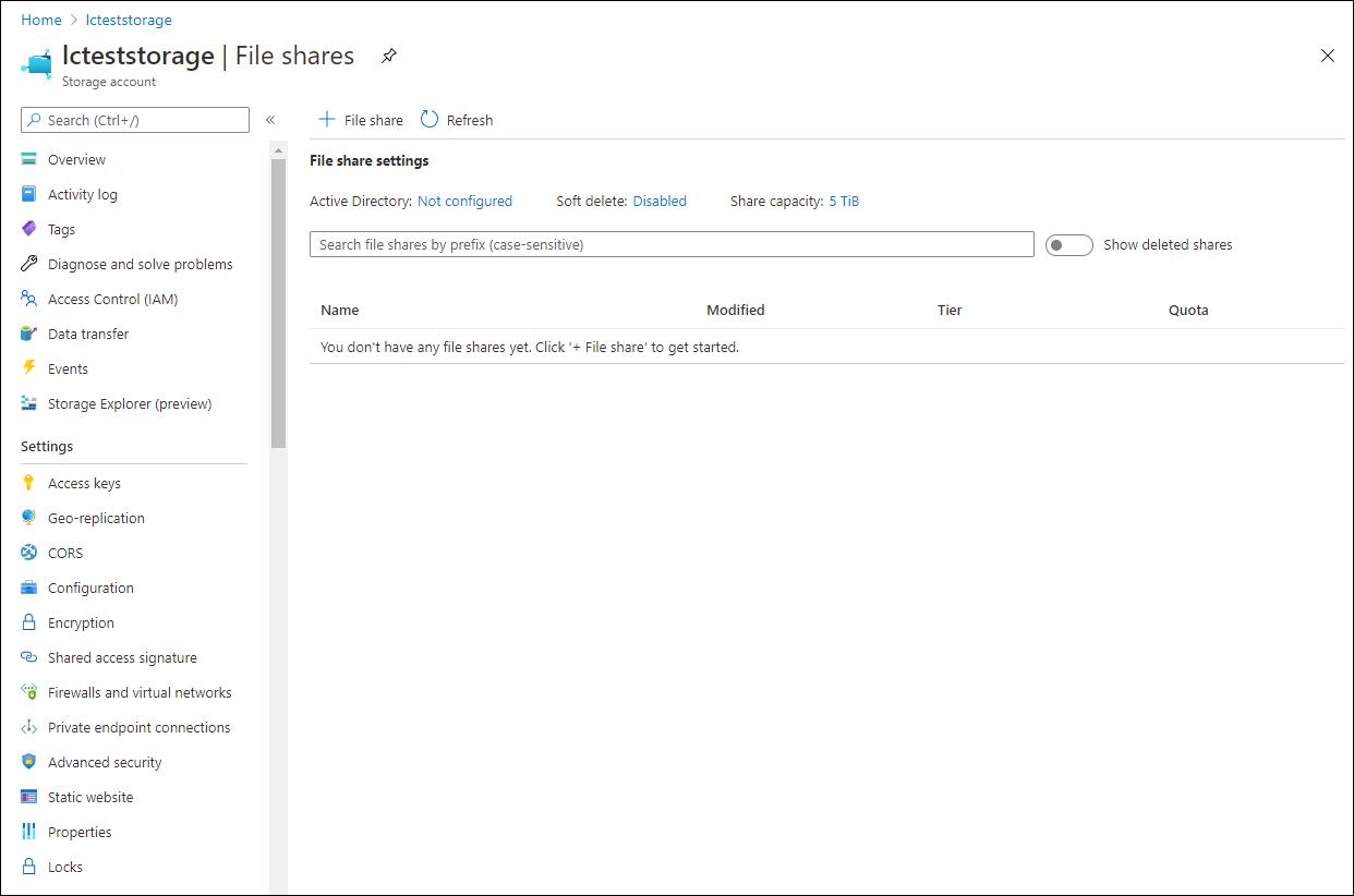 Create a file share.