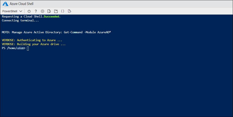Navigating to https://shell.azure.com/ will open the PowerShell terminal.