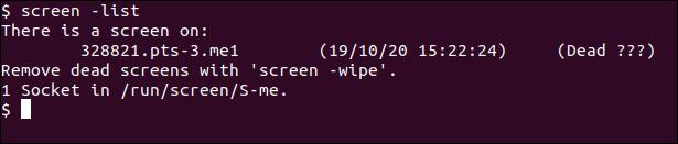 A failed GNU Screen session