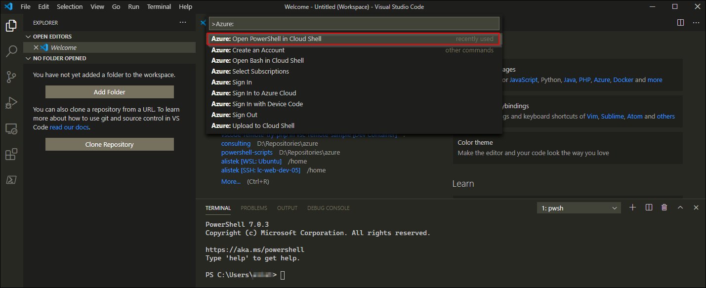 """Click or select the """"Azure: Open PowerShell in Cloud Shell"""" option to run the Open PoweShell in Cloud command."""