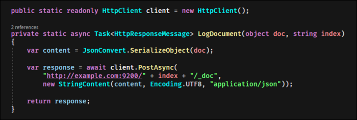 Send a JSON formatted document, replacing indexname with the index you're posting to.