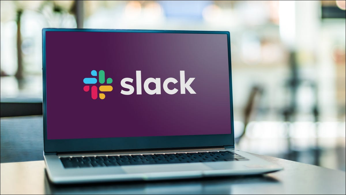 slack on a laptop screen