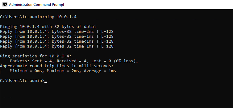 Sending ICMP pings from the second VM to the 1st.