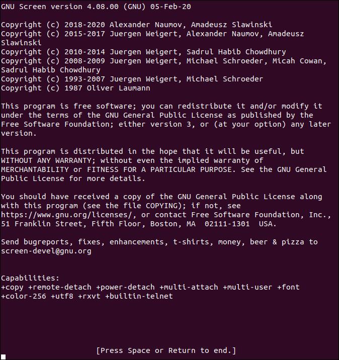 GNU Screen Splash Screen