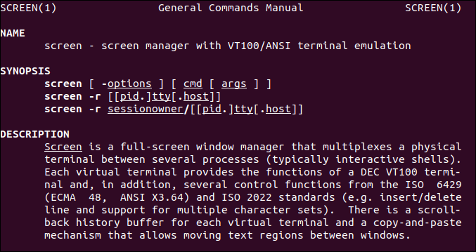 GNU Screen Linux manual