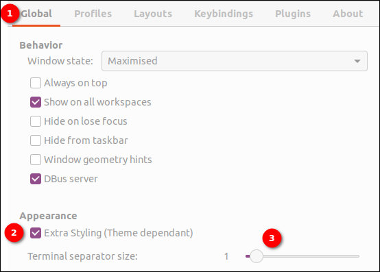 Setting terminator terminal separator size