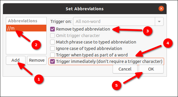 Autokey set abbreviation and abbreviation options