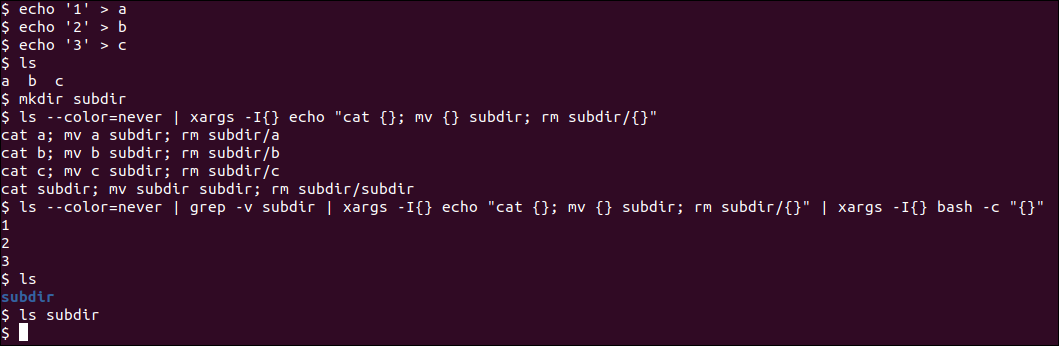 A fully working mini script based on xargs and bash -c in a one-liner command