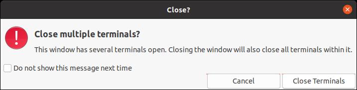 Close multiple terminals warning in terminator