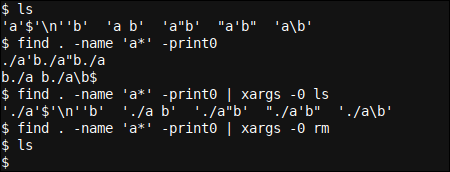 The solution: find -print0 and xargs -0