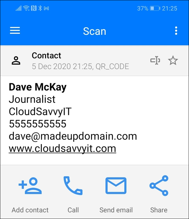 Scan results for a contact details QR code