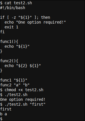 A more advanced Bash function with variable passing