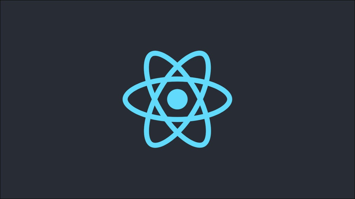 React logo on a dark background
