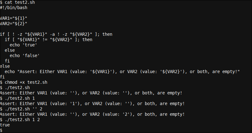 A more complex inequality if statement which also tests script variables
