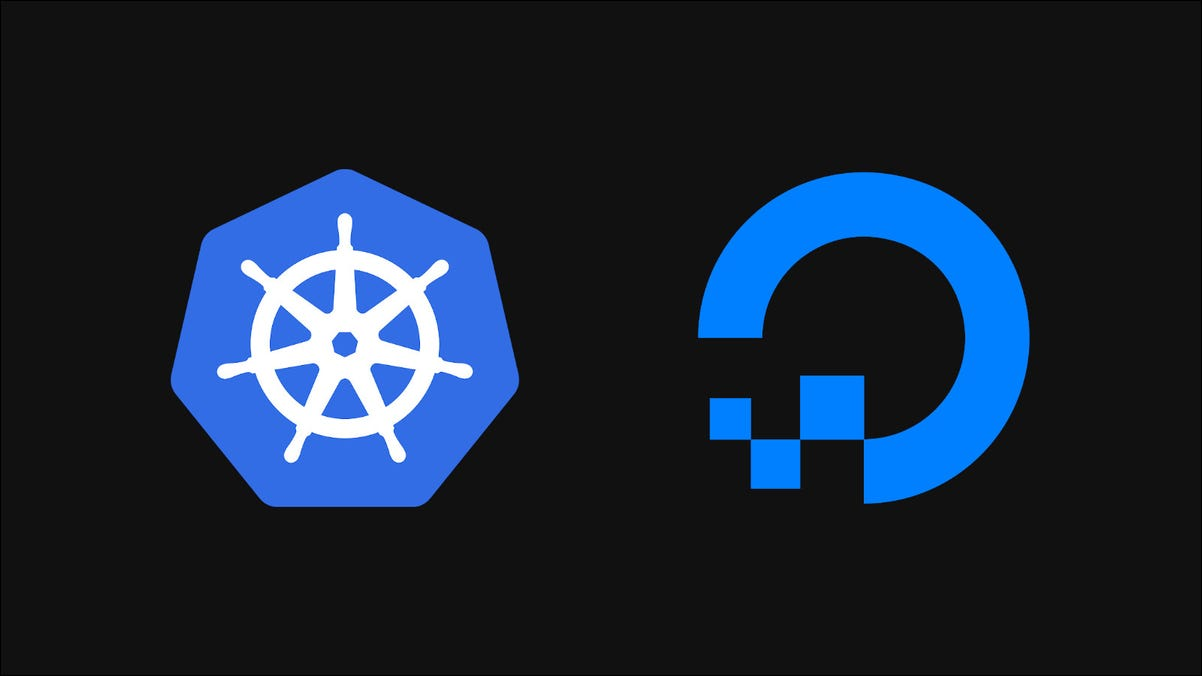 Image showing Kubernetes and DigitalOcean logos on a dark background