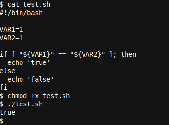 In-script if example using variables and an else clause