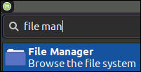 The File Manager Icon in Mint 20