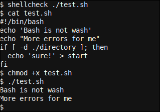 Shellcheck output 8