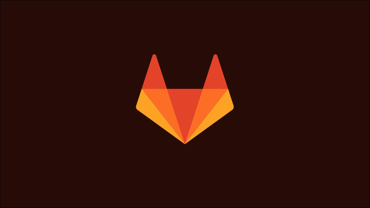 Graphic showing the GitLab logo, a stylised fox head
