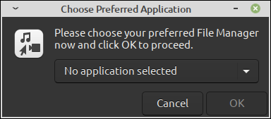 Selecting a preferred file manager application dialog