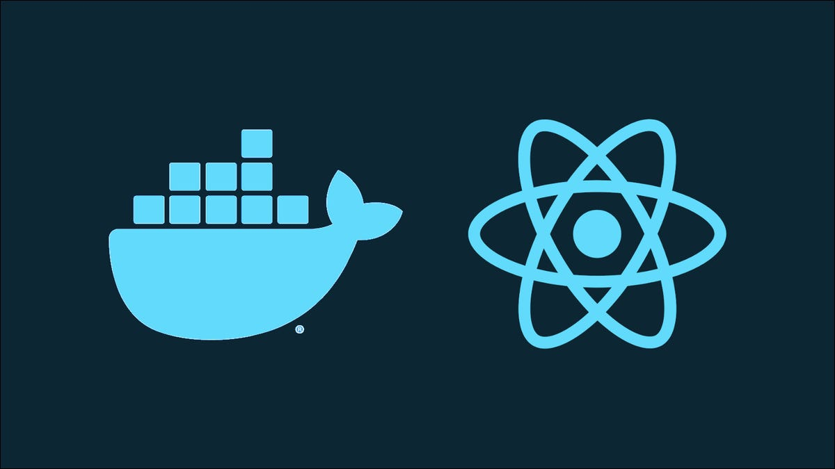 Graphic of Docker and React logos
