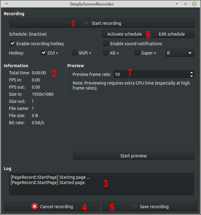 Main SimpleScreenRecorder Recording Interface
