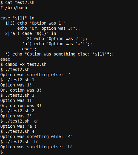 A more complex case .. esac statement in Bash with additional selectors