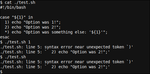 Incorrect code block termination in a Bash case..esac statement