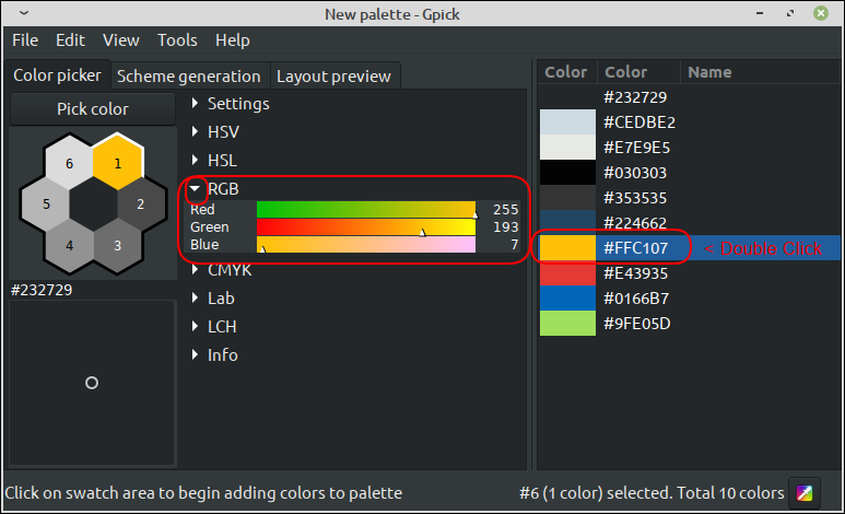 The RGB values for a hex based color value (transformed) in Gpick
