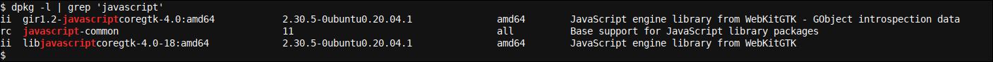 dpkg -l   grep 'javascript' output