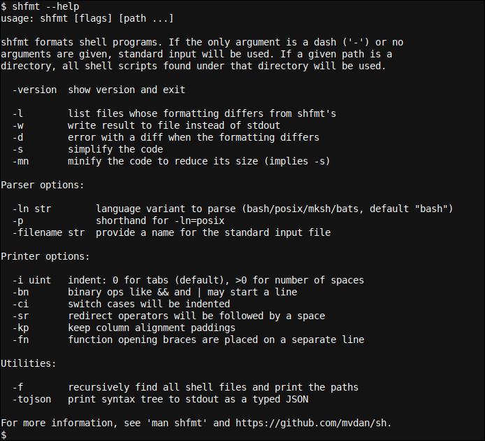 shfmt - a compact Shell formatting tool
