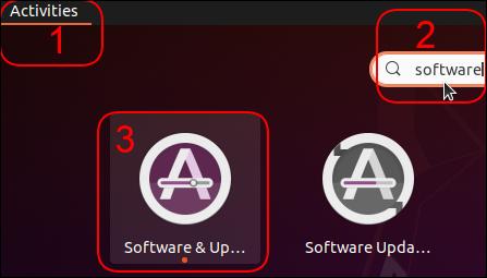 Clicking through to Software & Updates in Ubuntu