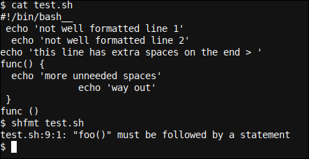 A practical example for shfmt with incorrect function call error