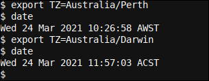 Setting a timezone by exporting the TZ variable in Bash