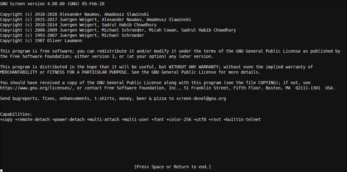The Linux GNU Screen splash screen