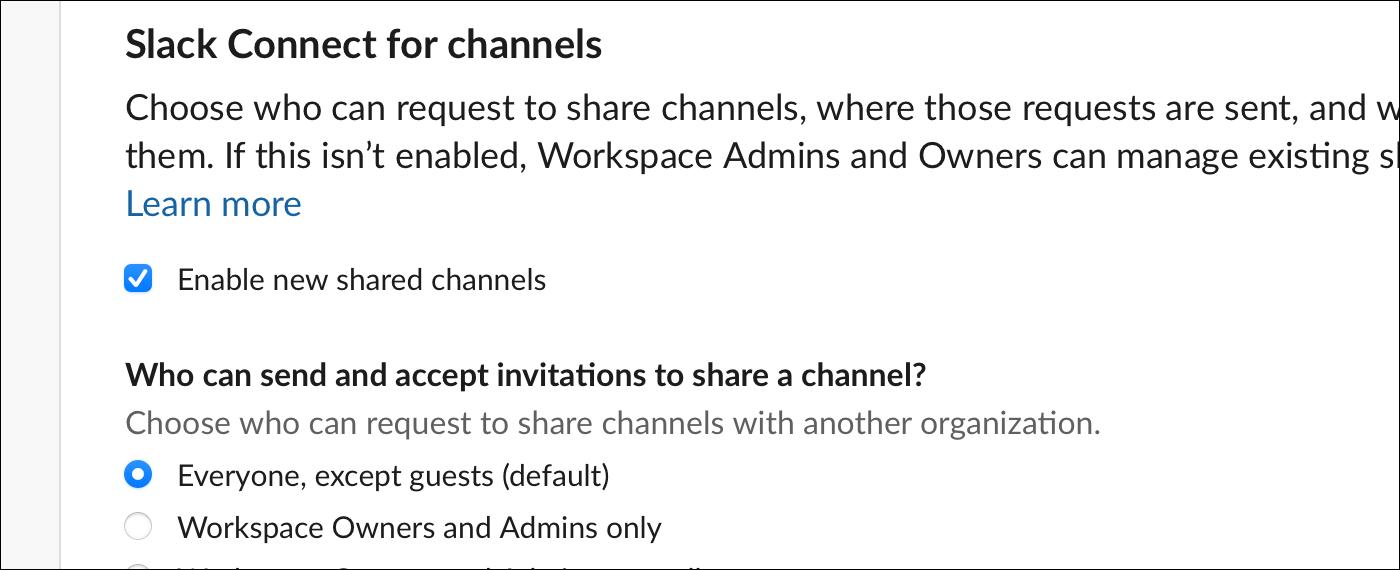 Disable slack connect for channels