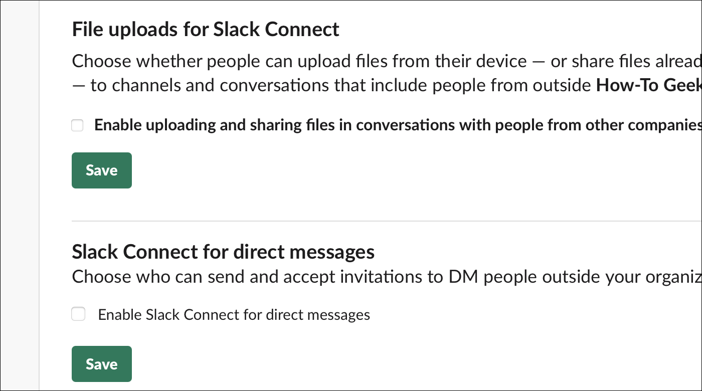disable file uploads and DMs for slack connect